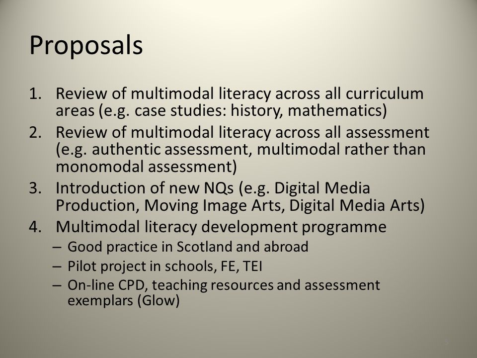 Review of Curriculum Areas Need to engage and develop 21C pupils' online competences Holistic analysis of CAs can reveal absences/ enrichments (key aspects of Media Studies useful here as they provide a holistic heuristic) Multimodality: all communication involves the orchestration of modes in rhetorical structures to construct meaning in cohesive and engaging texts Pedagogic practices: shift from teacher-direction to dialogic collaborative enquiry Assessment practices: holistic, authentic, multimodal 6