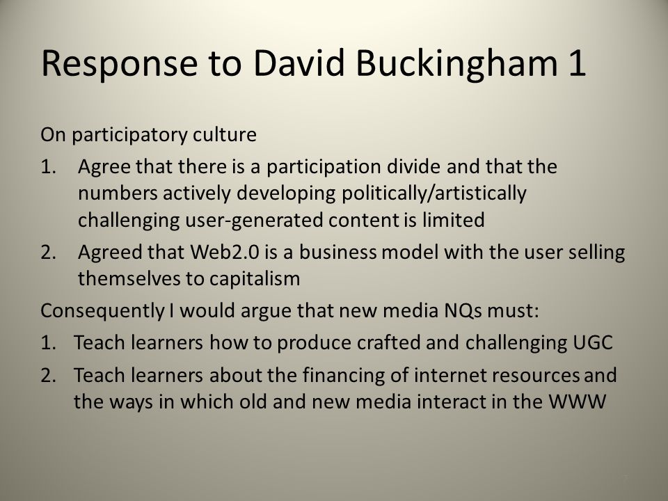Response to David Buckingham 2 On ten things that are wrong with multimodality: 1.Agreed that neologisms are difficult (original texts by Kress and van Leeuwen can be a heavy read; try David Machin instead) 2.Multibanality – obvious that media texts are multimodal – but it can remind analyst to attend to all aspects of a text (e.g.