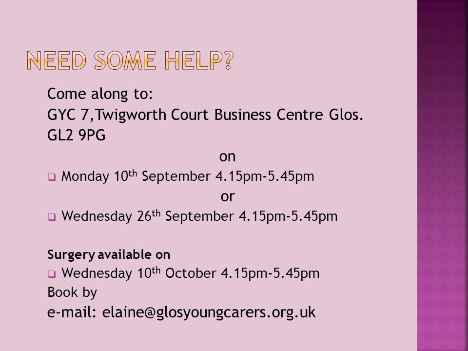 Come along to: GYC 7,Twigworth Court Business Centre Glos.