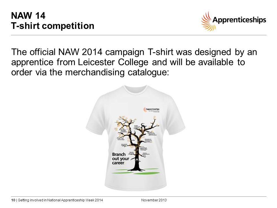 10 | Getting involved in National Apprenticeship Week 2014 NAW 14 T-shirt competition November 2013 The official NAW 2014 campaign T-shirt was designed by an apprentice from Leicester College and will be available to order via the merchandising catalogue: