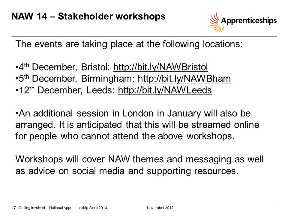 17 | Getting involved in National Apprenticeship Week 2014 NAW 14 – Stakeholder workshops November 2013 The events are taking place at the following locations: 4 th December, Bristol: http://bit.ly/NAWBristolhttp://bit.ly/NAWBristol 5 th December, Birmingham: http://bit.ly/NAWBhamhttp://bit.ly/NAWBham 12 th December, Leeds: http://bit.ly/NAWLeedshttp://bit.ly/NAWLeeds An additional session in London in January will also be arranged.