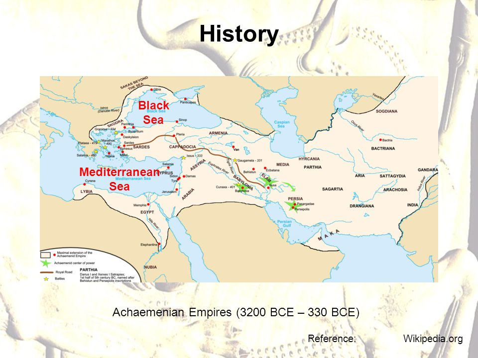 History Achaemenian Empires (3200 BCE – 330 BCE) Reference: Wikipedia.org Mediterranean Sea Black Sea