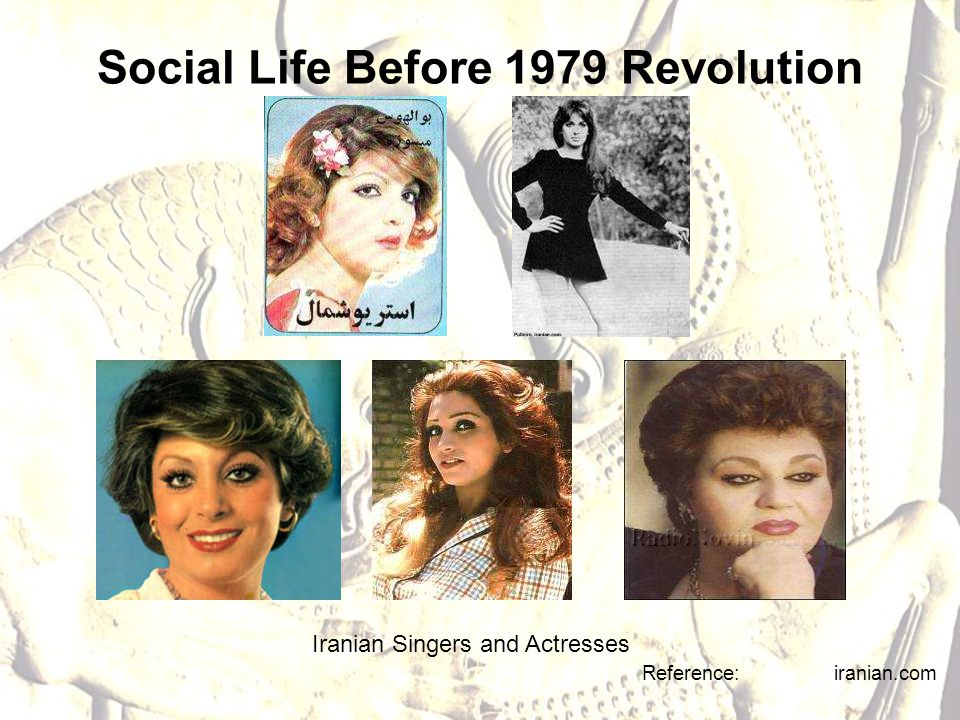 Social Life Before 1979 Revolution Reference: iranian.com Iranian Singers and Actresses