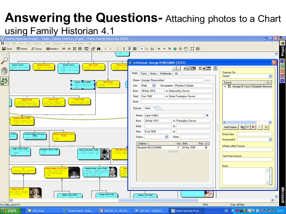 13 th Dec 2010 Answering the Questions- Attaching photos to a Chart using Family Historian 4.1