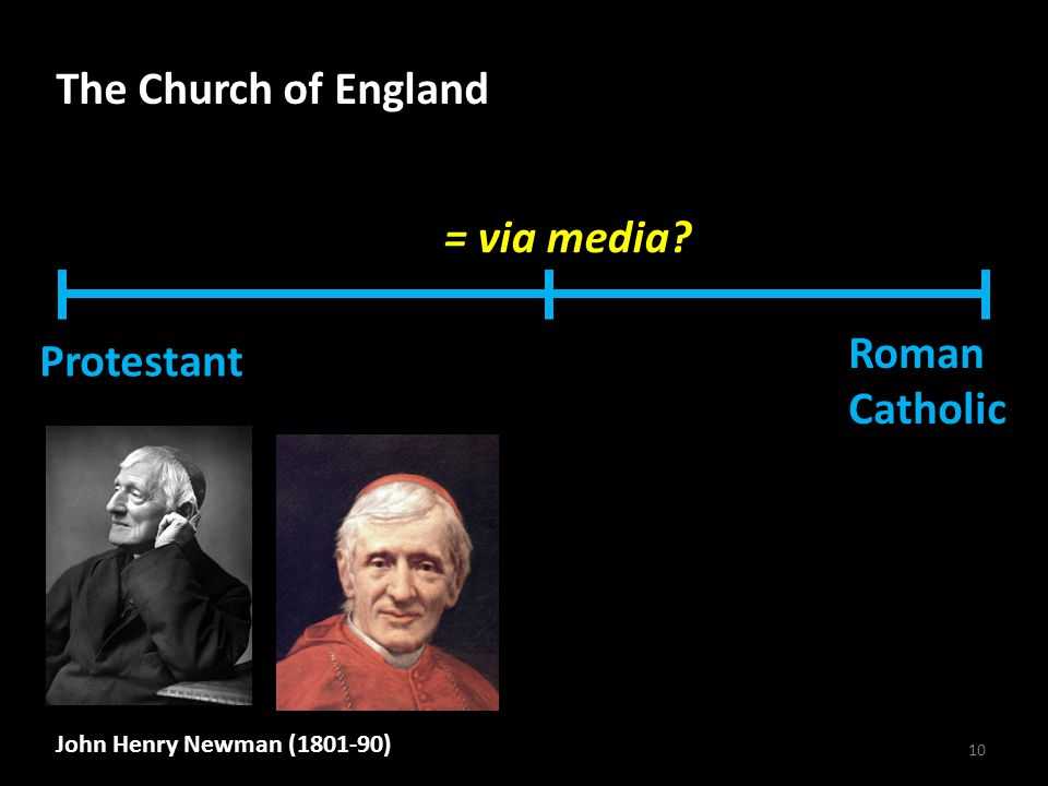 10 The Church of England Protestant Roman Catholic = via media John Henry Newman (1801-90)
