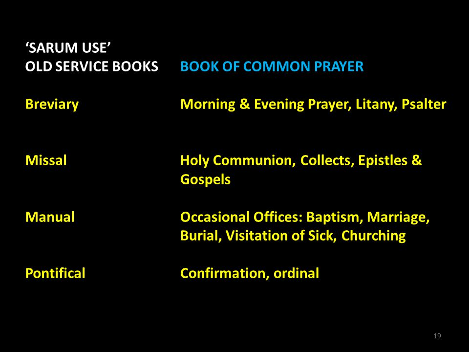 19 'SARUM USE' OLD SERVICE BOOKS Breviary Missal Manual Pontifical BOOK OF COMMON PRAYER Morning & Evening Prayer, Litany, Psalter Holy Communion, Col