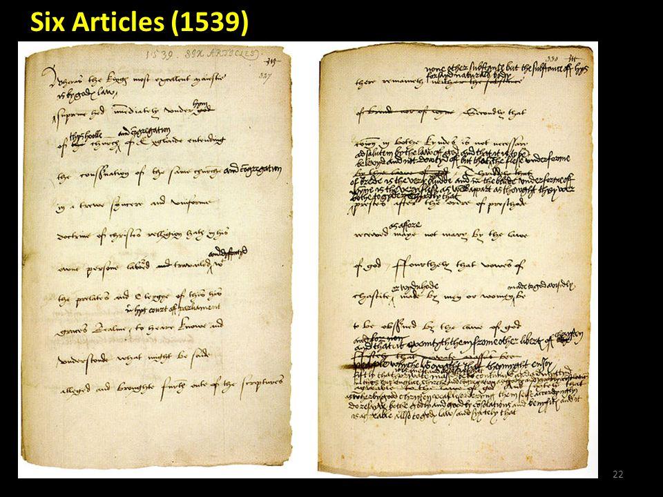 22 Six Articles (1539)