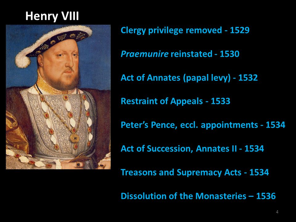 4 Henry VIII Clergy privilege removed - 1529 Praemunire reinstated - 1530 Act of Annates (papal levy) - 1532 Restraint of Appeals - 1533 Peter's Pence, eccl.