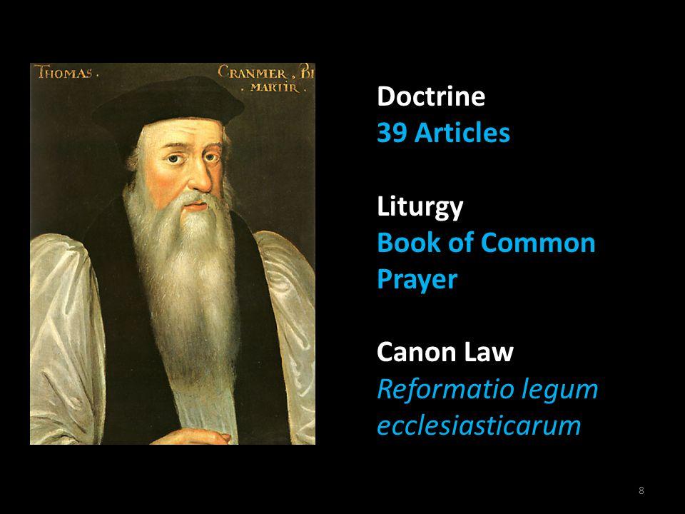 8 Doctrine 39 Articles Liturgy Book of Common Prayer Canon Law Reformatio Reformatio legum ecclesiasticarum