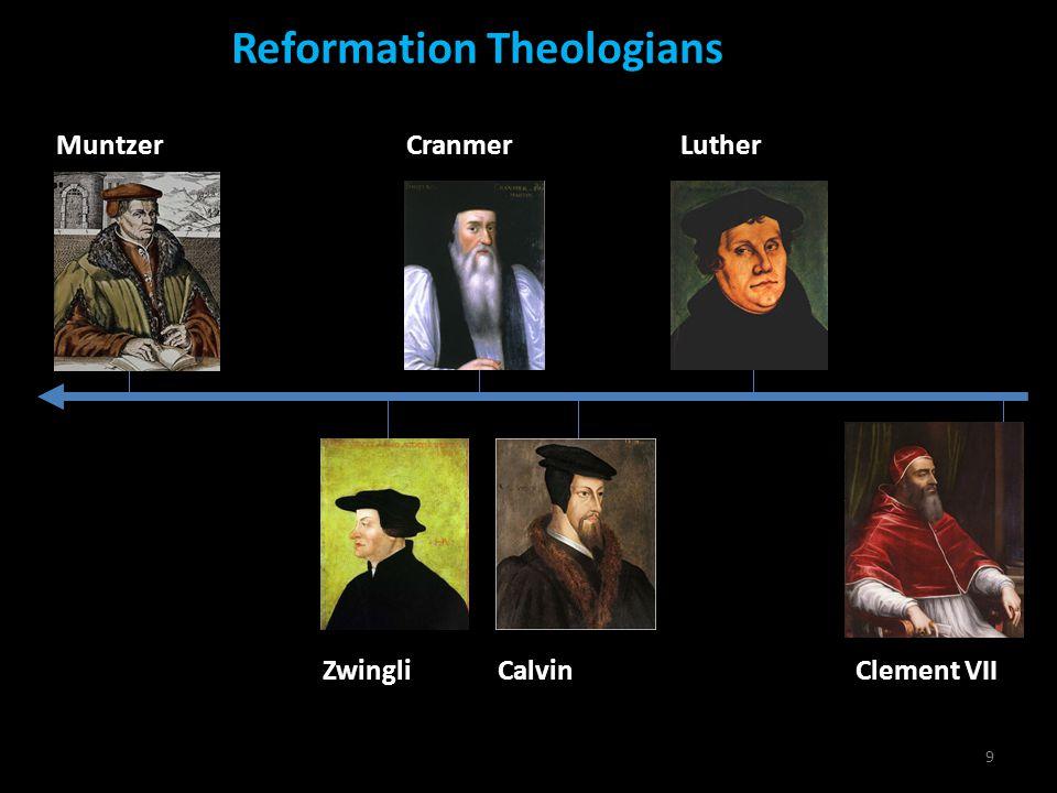 9 Reformation Theologians MuntzerLutherCranmer ZwingliCalvinClement VII
