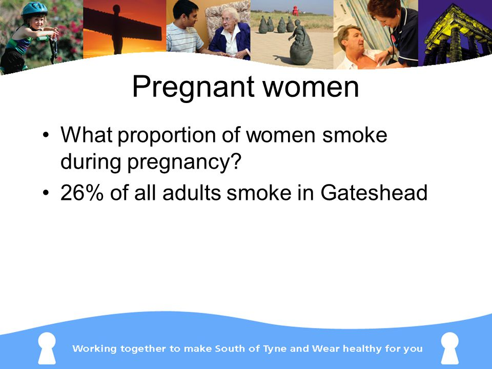 Pregnant women What proportion of women smoke during pregnancy.