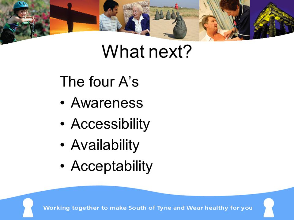 What next The four A's Awareness Accessibility Availability Acceptability