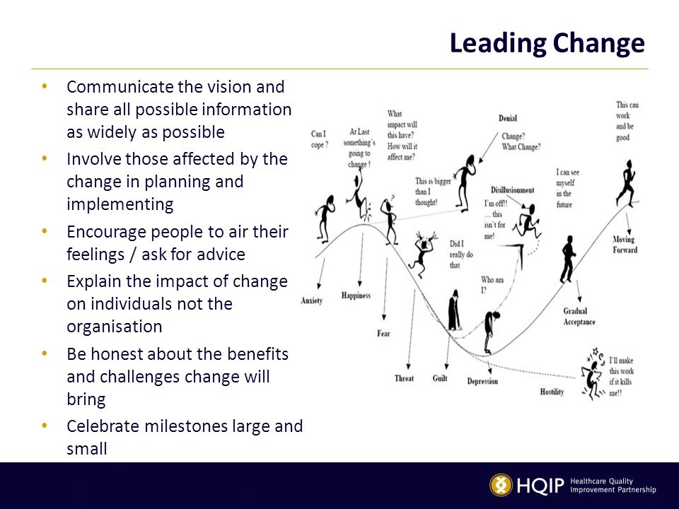 Leading Change Communicate the vision and share all possible information as widely as possible Involve those affected by the change in planning and im