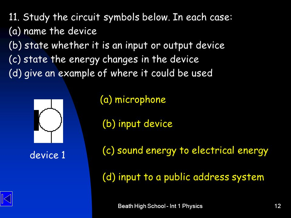 Beath High School - Int 1 Physics12 11. Study the circuit symbols below. In each case: (a) name the device (b) state whether it is an input or output
