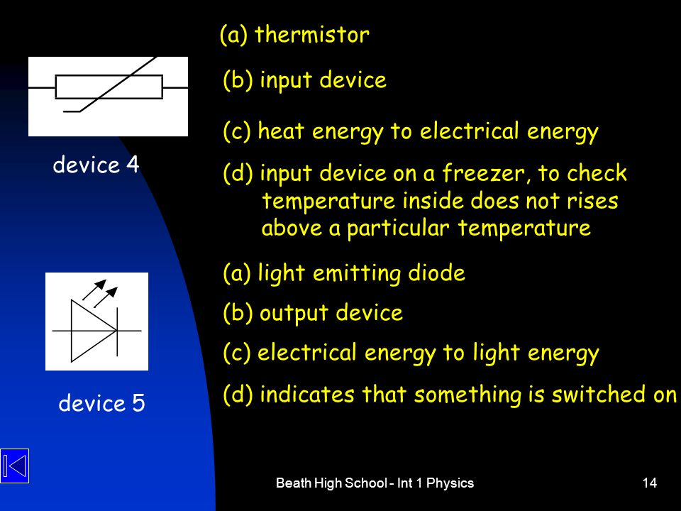 Beath High School - Int 1 Physics14 device 4 (a) thermistor (b) input device (c) heat energy to electrical energy (d) input device on a freezer, to ch