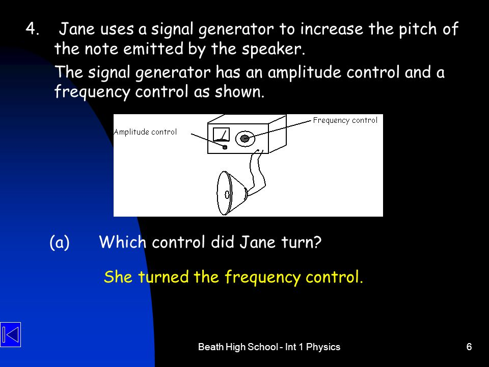 Beath High School - Int 1 Physics6 4. Jane uses a signal generator to increase the pitch of the note emitted by the speaker. The signal generator has