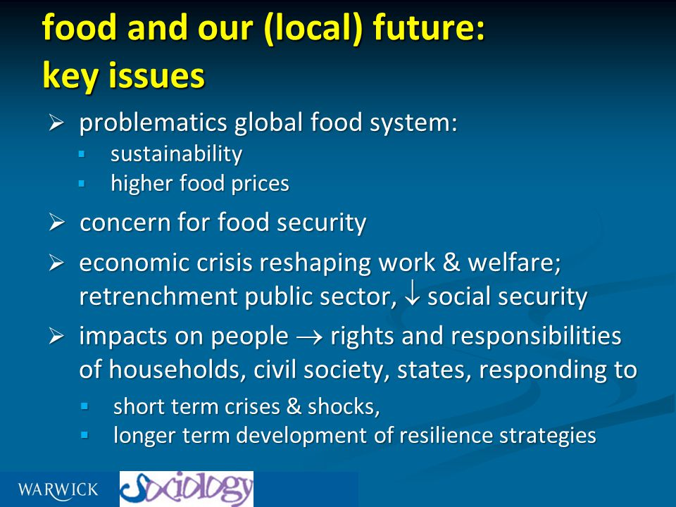 for food security and entitlement - people should   have access – able to grow or buy food, have enough money, able to reach shops stocking foods needed for health at affordable prices   enjoy the choice – able to buy food that is safe, necessary, appropriate for a healthy life and for the culture they live in   be free from anxiety - about whether they will be able to eat properly