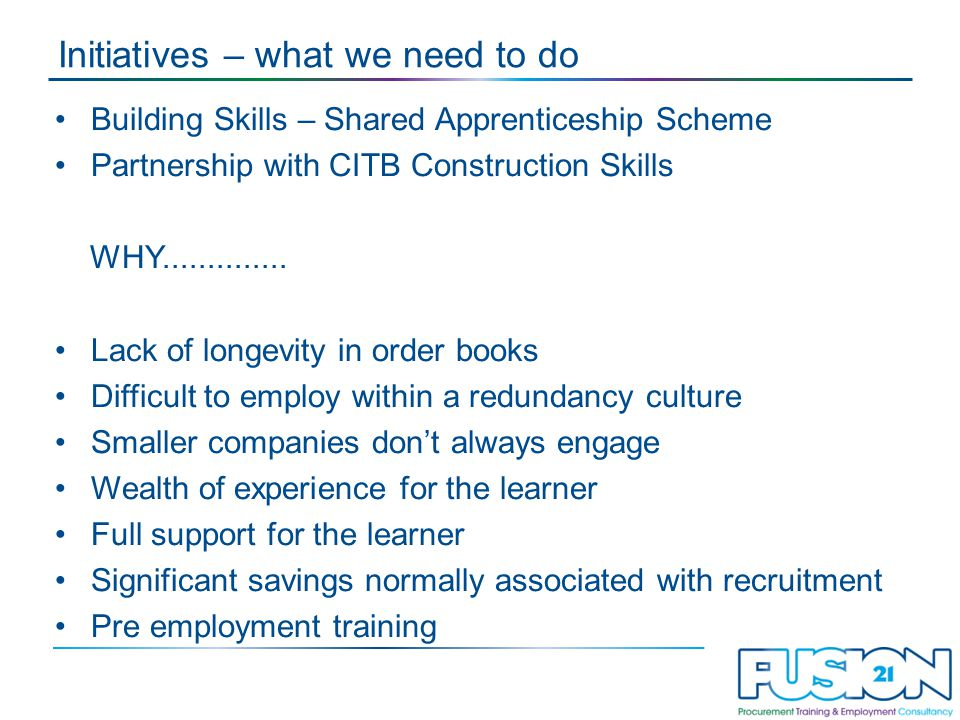 Initiatives – what we need to do Building Skills – Shared Apprenticeship Scheme Partnership with CITB Construction Skills WHY..............