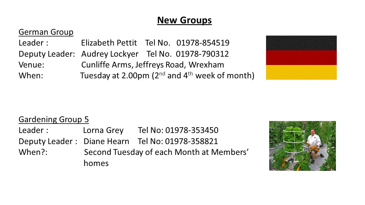 New Groups German Group Leader : Elizabeth Pettit Tel No.