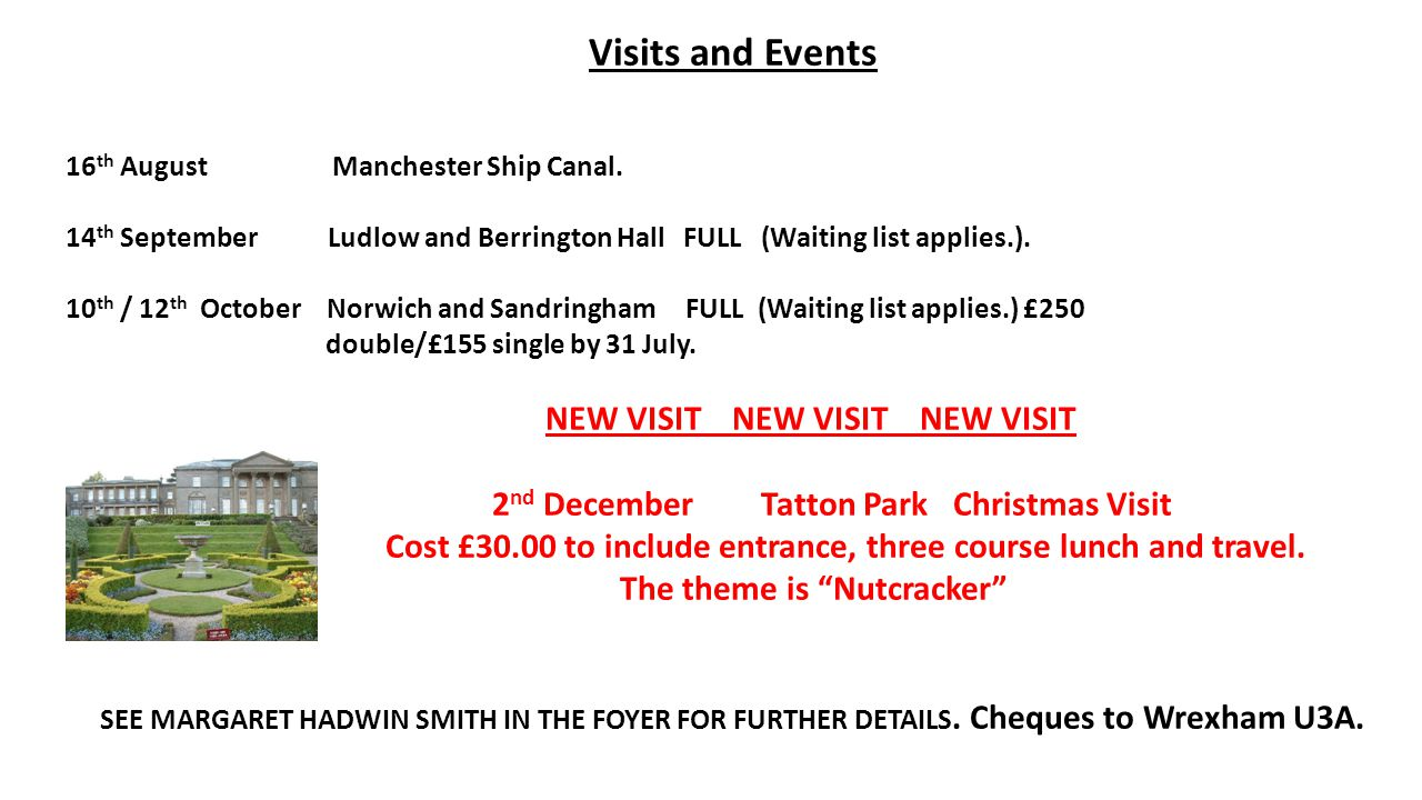Visits and Events 16 th August Manchester Ship Canal.