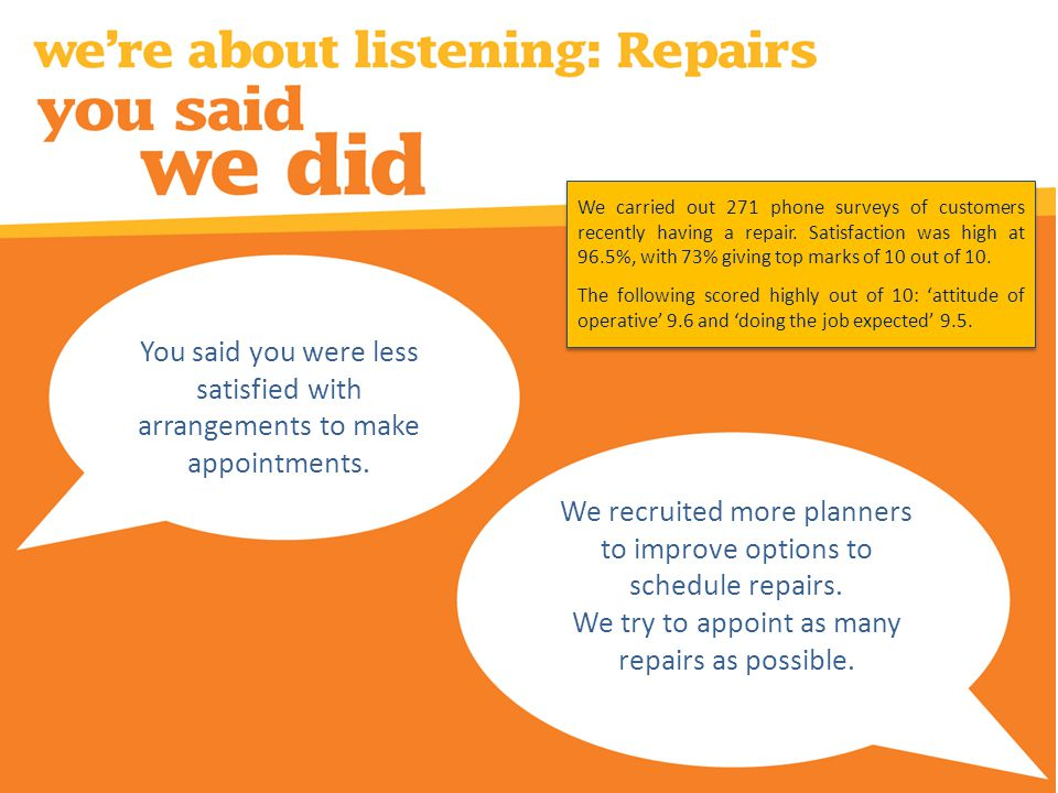 We recruited more planners to improve options to schedule repairs.
