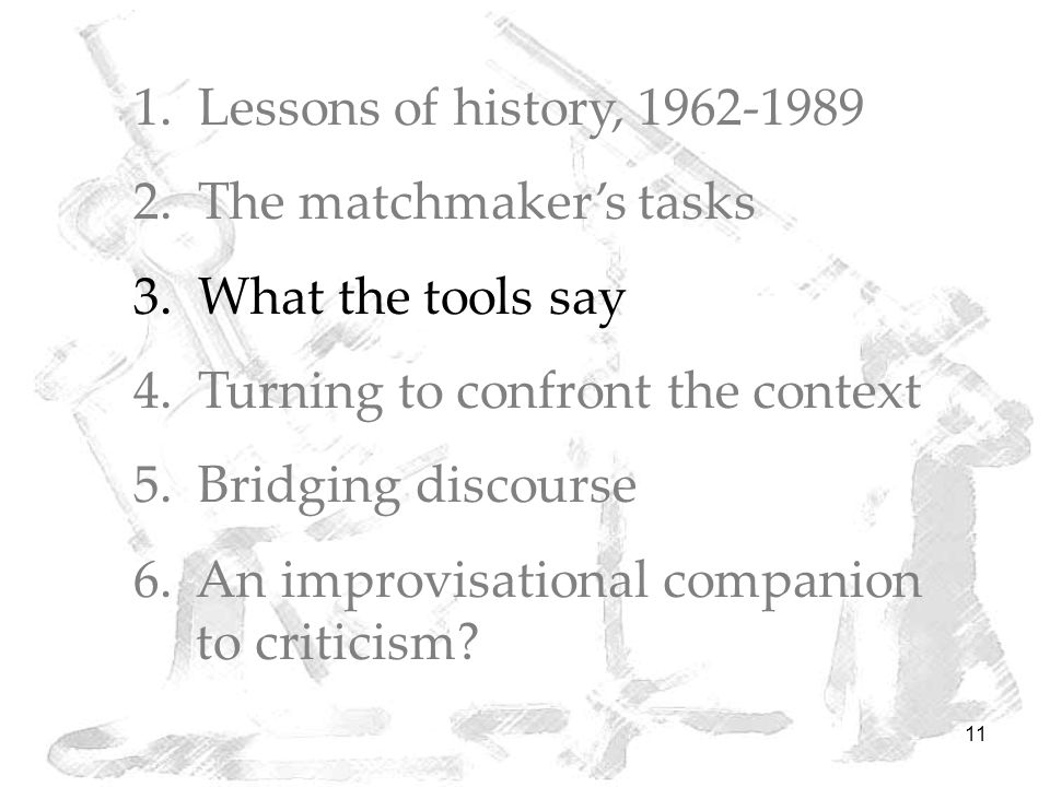 11 1. Lessons of history, 1962-1989 2. The matchmaker's tasks 3.