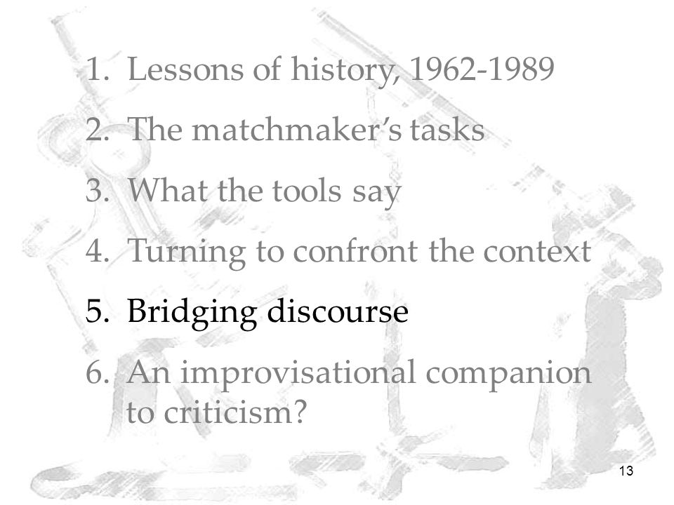 13 1. Lessons of history, 1962-1989 2. The matchmaker's tasks 3.