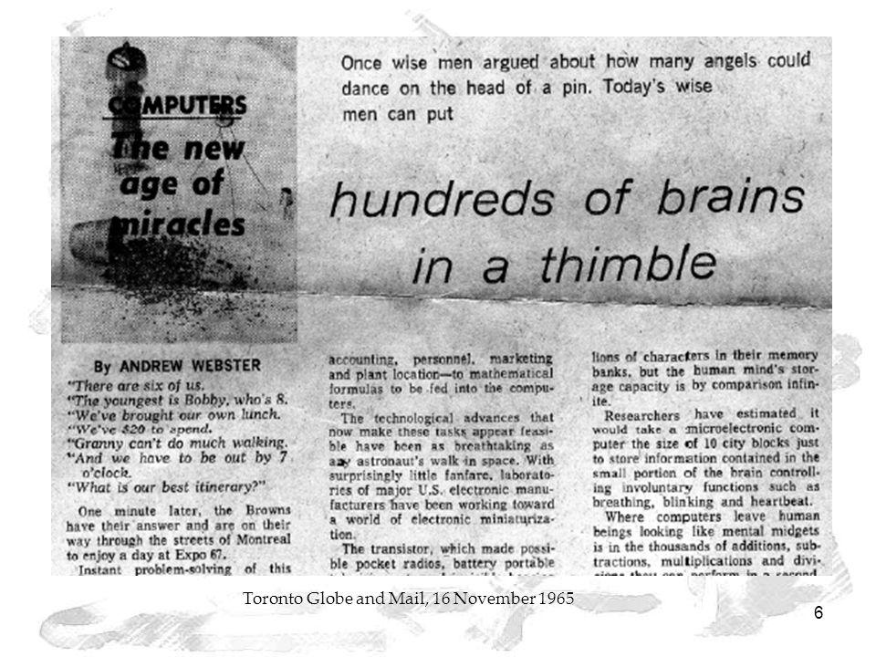 6 Toronto Globe and Mail, 16 November 1965