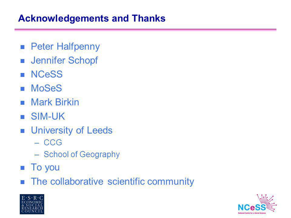 Acknowledgements and Thanks n Peter Halfpenny n Jennifer Schopf n NCeSS n MoSeS n Mark Birkin n SIM-UK n University of Leeds –CCG –School of Geography n To you n The collaborative scientific community