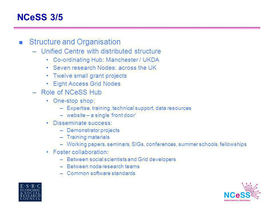 NCeSS 3/5 n Structure and Organisation –Unified Centre with distributed structure Co-ordinating Hub: Manchester / UKDA Seven research Nodes: across the UK Twelve small grant projects Eight Access Grid Nodes –Role of NCeSS Hub One-stop shop: –Expertise, training, technical support, data resources –website – a single 'front door' Disseminate success: –Demonstrator projects –Training materials –Working papers, seminars, SIGs, conferences, summer schools, fellowships Foster collaboration: –Between social scientists and Grid developers –Between node research teams –Common software standards
