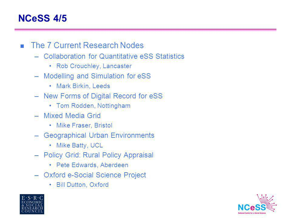 NCeSS 4/5 n The 7 Current Research Nodes –Collaboration for Quantitative eSS Statistics Rob Crouchley, Lancaster –Modelling and Simulation for eSS Mark Birkin, Leeds –New Forms of Digital Record for eSS Tom Rodden, Nottingham –Mixed Media Grid Mike Fraser, Bristol –Geographical Urban Environments Mike Batty, UCL –Policy Grid: Rural Policy Appraisal Pete Edwards, Aberdeen –Oxford e-Social Science Project Bill Dutton, Oxford