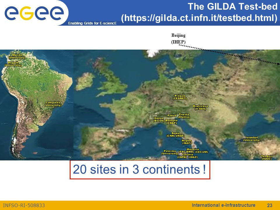Enabling Grids for E-sciencE INFSO-RI-508833 International e-Infrastructure 23 The GILDA Test-bed (https://gilda.ct.infn.it/testbed.html) 20 sites in 3 continents .