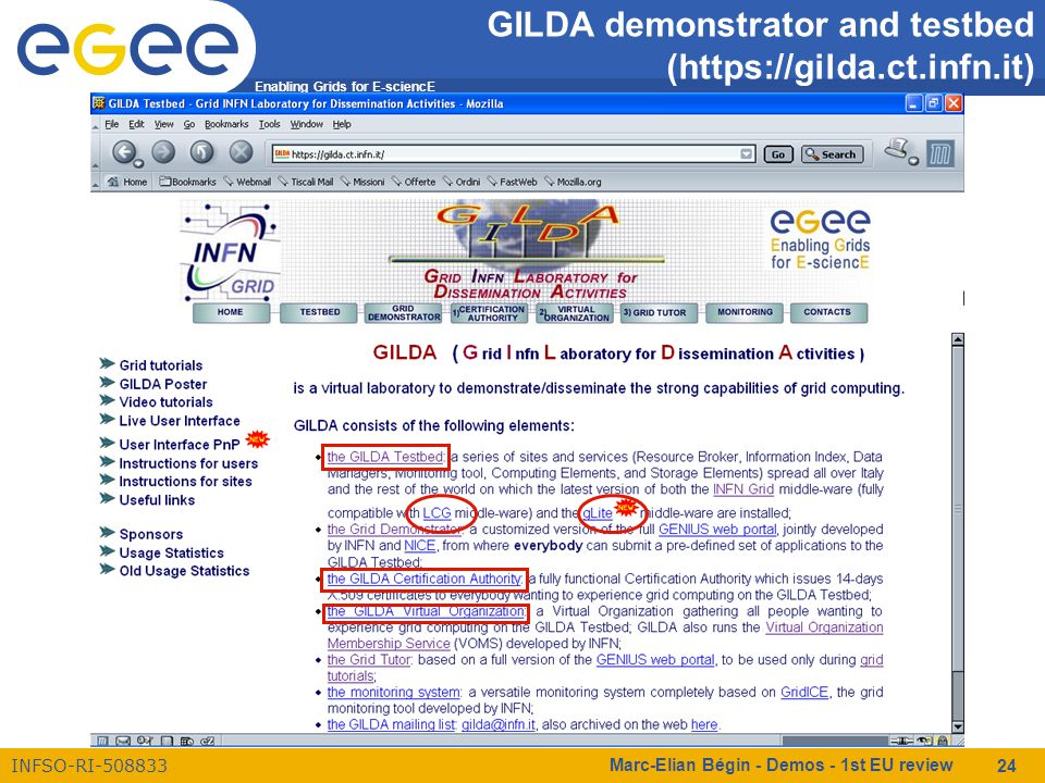 Enabling Grids for E-sciencE INFSO-RI-508833 Marc-Elian Bégin - Demos - 1st EU review 24 GILDA demonstrator and testbed (https://gilda.ct.infn.it)
