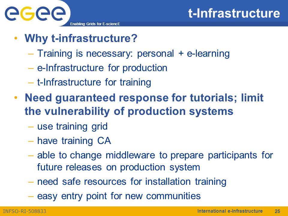 Enabling Grids for E-sciencE INFSO-RI-508833 International e-Infrastructure 25 t-Infrastructure Why t-infrastructure? –Training is necessary: personal