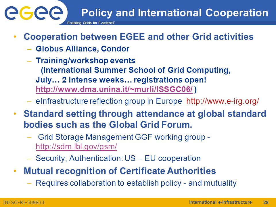 Enabling Grids for E-sciencE INFSO-RI-508833 International e-Infrastructure 28 Policy and International Cooperation Cooperation between EGEE and other Grid activities –Globus Alliance, Condor –Training/workshop events (International Summer School of Grid Computing, July… 2 intense weeks… registrations open.