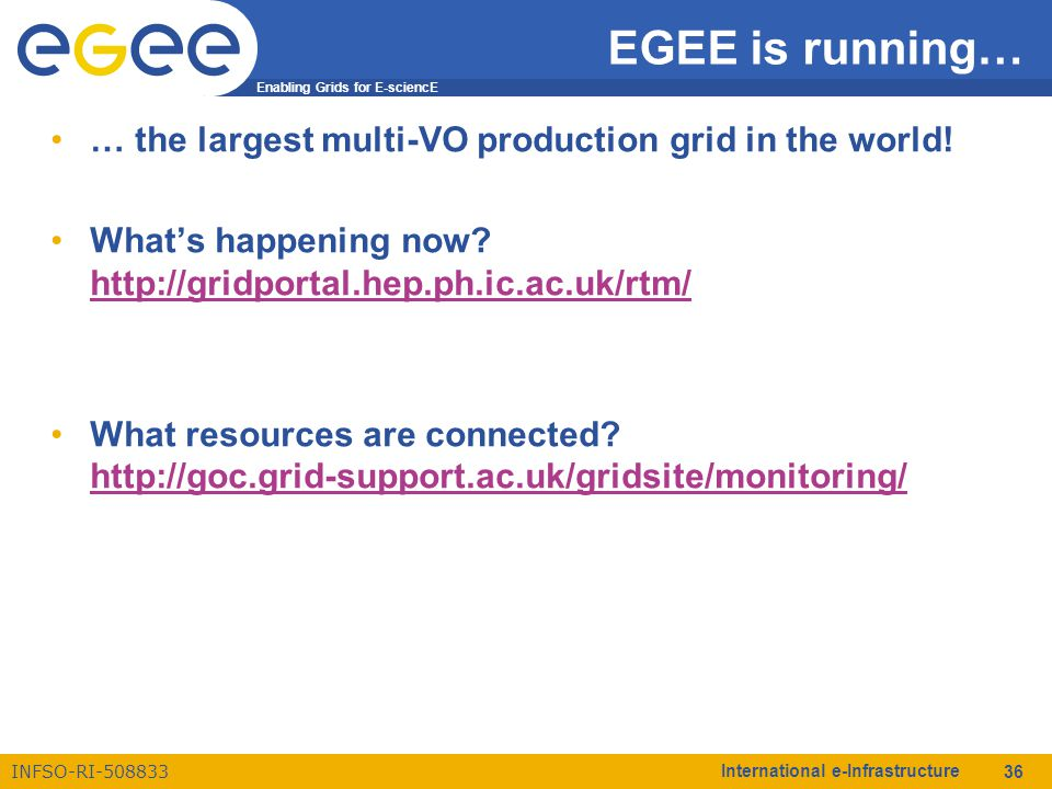 Enabling Grids for E-sciencE INFSO-RI-508833 International e-Infrastructure 36 EGEE is running… … the largest multi-VO production grid in the world! W
