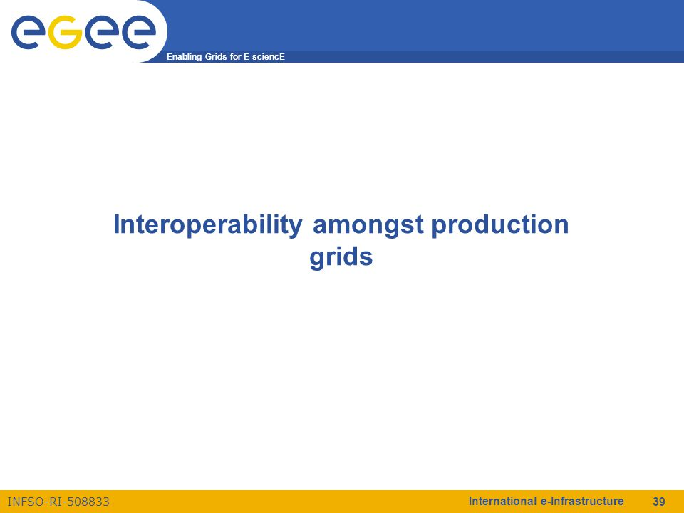 Enabling Grids for E-sciencE INFSO-RI-508833 International e-Infrastructure 39 Interoperability amongst production grids