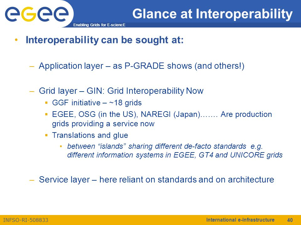 Enabling Grids for E-sciencE INFSO-RI-508833 International e-Infrastructure 40 Glance at Interoperability Interoperability can be sought at: –Applicat