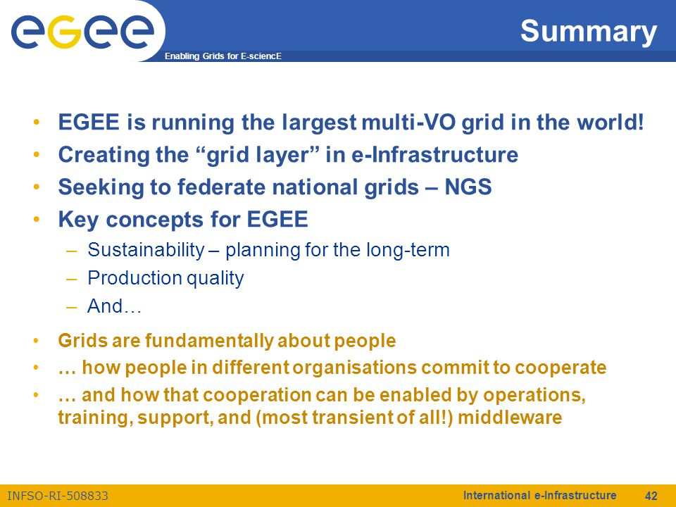 Enabling Grids for E-sciencE INFSO-RI-508833 International e-Infrastructure 42 Summary EGEE is running the largest multi-VO grid in the world! Creatin