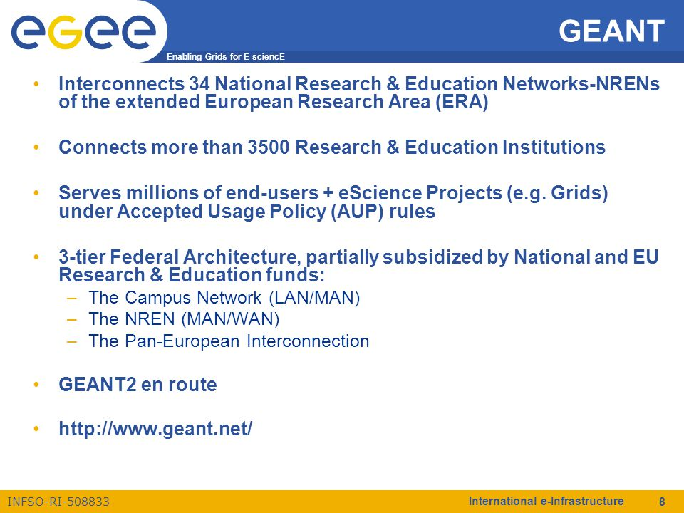 Enabling Grids for E-sciencE INFSO-RI-508833 International e-Infrastructure 8 GEANT Interconnects 34 National Research & Education Networks-NRENs of the extended European Research Area (ERA) Connects more than 3500 Research & Education Institutions Serves millions of end-users + eScience Projects (e.g.