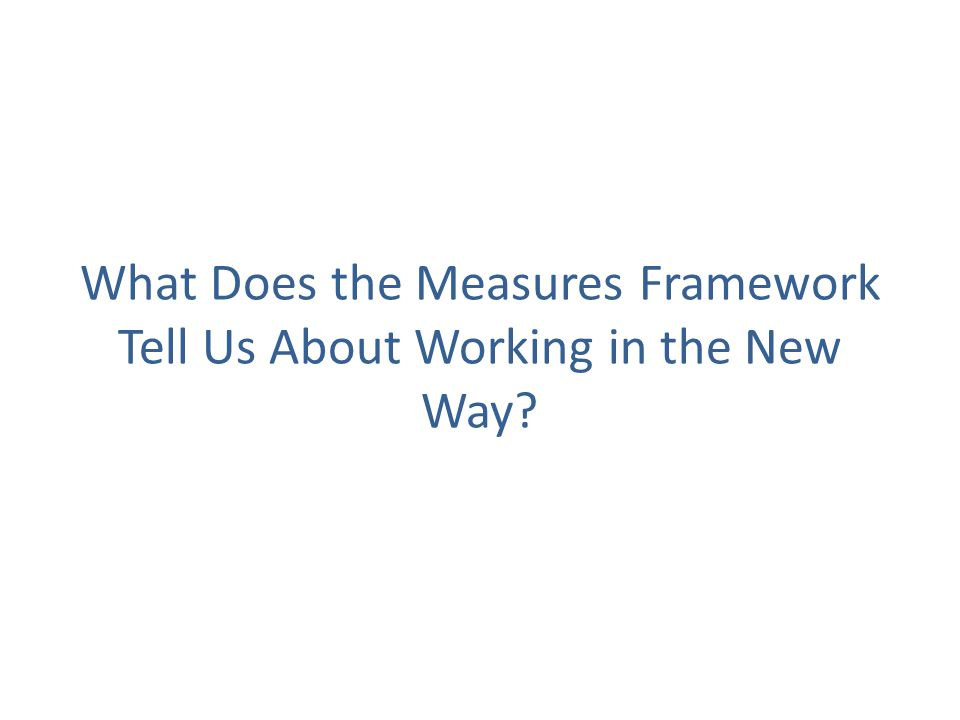 What Does the Measures Framework Tell Us About Working in the New Way