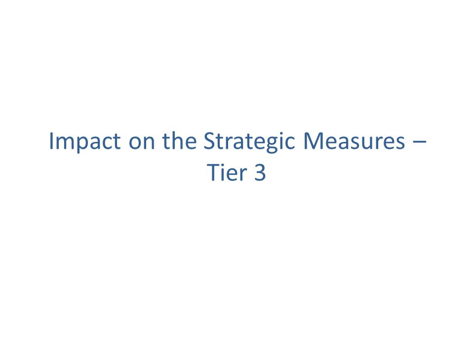 Impact on the Strategic Measures – Tier 3