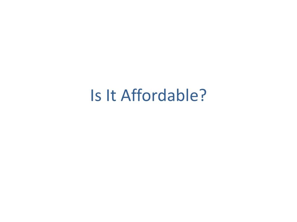 Is It Affordable
