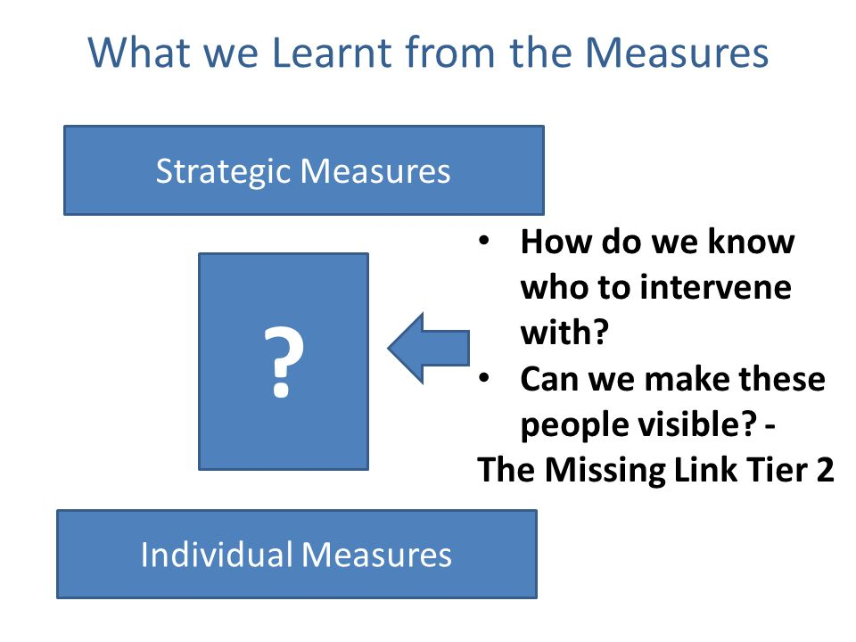 What we Learnt from the Measures Strategic Measures Individual Measures .