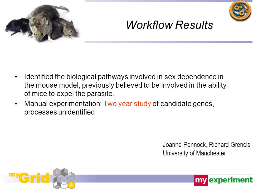 Workflow Results Identified the biological pathways involved in sex dependence in the mouse model, previously believed to be involved in the ability o