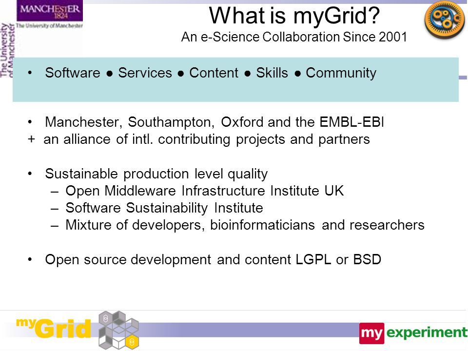 What is myGrid? An e-Science Collaboration Since 2001 Software ● Services ● Content ● Skills ● Community Manchester, Southampton, Oxford and the EMBL-