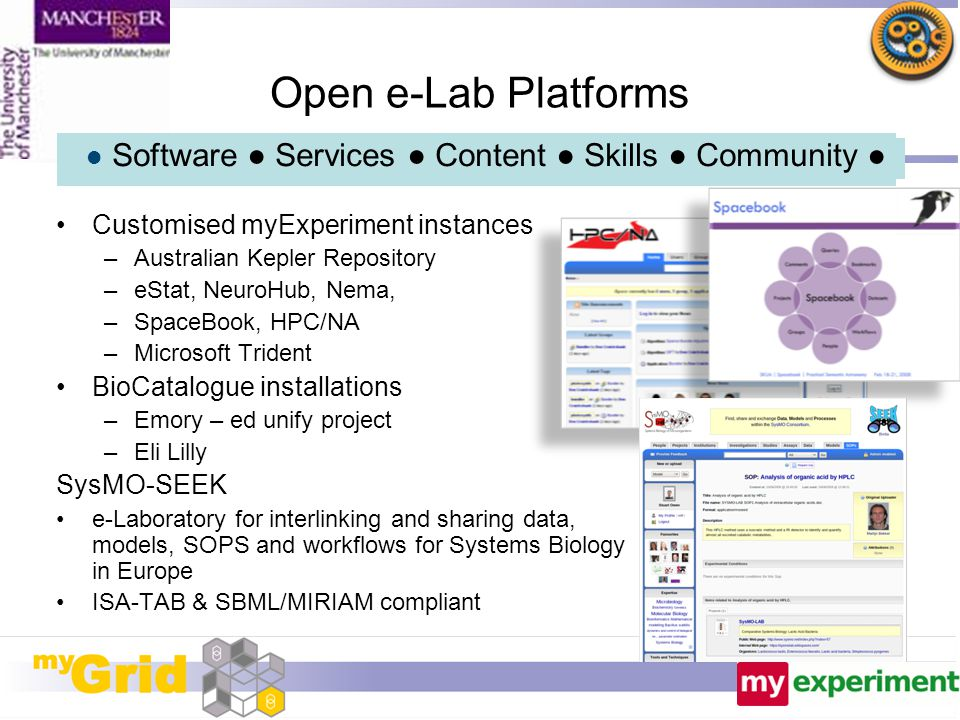 Open e-Lab Platforms Customised myExperiment instances –Australian Kepler Repository –eStat, NeuroHub, Nema, –SpaceBook, HPC/NA –Microsoft Trident Bio