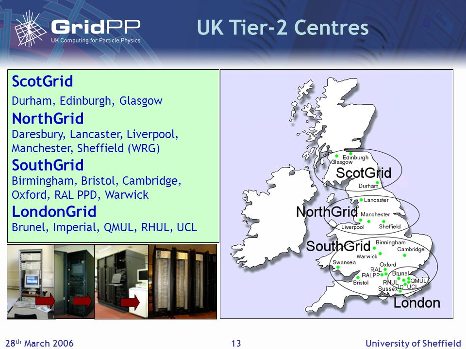28 th March 2006University of Sheffield13 UK Tier-2 Centres ScotGrid Durham, Edinburgh, Glasgow NorthGrid Daresbury, Lancaster, Liverpool, Manchester, Sheffield (WRG) SouthGrid Birmingham, Bristol, Cambridge, Oxford, RAL PPD, Warwick LondonGrid Brunel, Imperial, QMUL, RHUL, UCL
