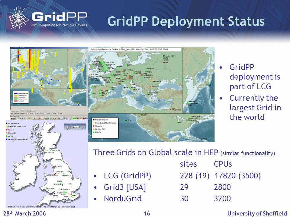 28 th March 2006University of Sheffield16 GridPP Deployment Status Three Grids on Global scale in HEP (similar functionality) sites CPUs LCG (GridPP)228 (19) 17820 (3500) Grid3 [USA]29 2800 NorduGrid30 3200 GridPP deployment is part of LCG Currently the largest Grid in the world
