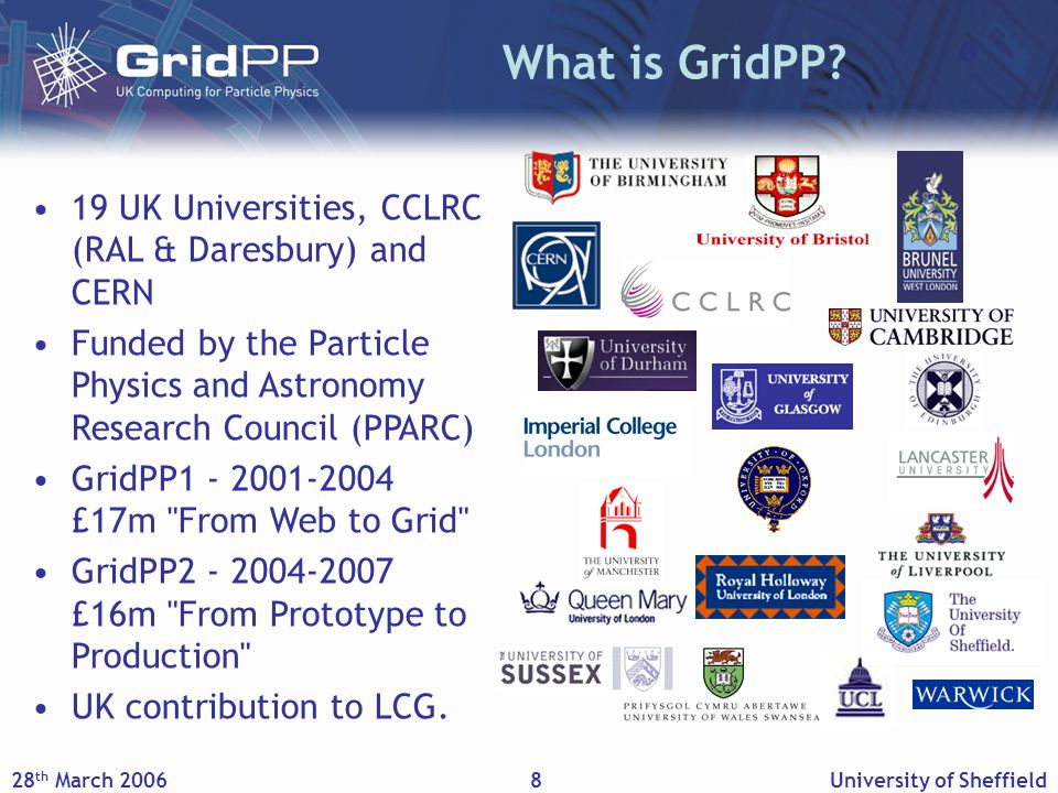 28 th March 2006University of Sheffield9 UK Core e-Science Programme Institutes Tier-2 Centres CERN LCG EGEE GridPP GridPP in Context Tier-1/A Middleware, Security, Networking Experiments Grid Support Centre Not to scale.